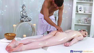 Erotic fucking on the massage table with pale blonde amateur