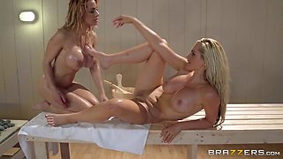 Hot And Mean: Scissoring In The Sauna. Alena Croft, Alyssa Lynn, Stevie Shae