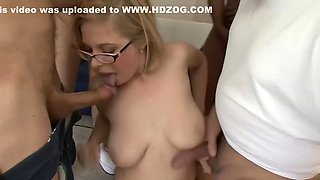 HD Penny with glasses gets messy bukkake