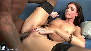 India Summer wears stockings while being fucked by black monster cocks