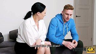 TUTOR4K. Instead of preparing for exam prankster has sex with new tutor