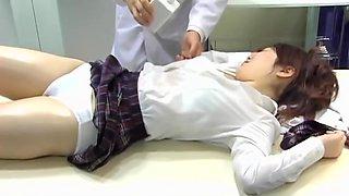 Savoury Japanese babe gets fingered in voyeur massage video