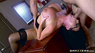 Huge tits secretary slut and her boss fuck with passion