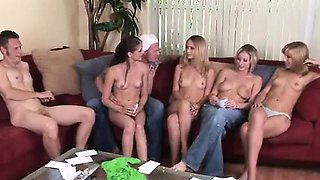 Amateur swingers performing funny sex dares and answering