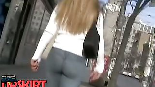This long haired bimbo has the big butt jeans that