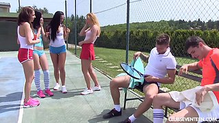 Lustful bombshells getting plowed nicely on a tennis court