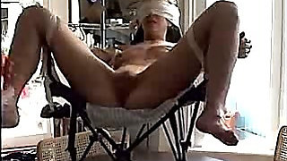 bound non-professional in chair has snatch toyed