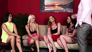 CFNM femdoms facesit while jerking in group