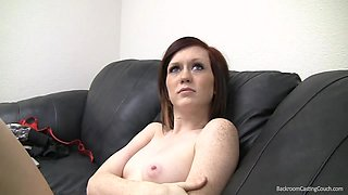 Dirty redhead babe gets her pretty face covered in cum