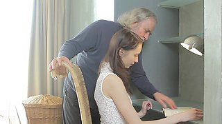 Old man is fucking young brunette Alina