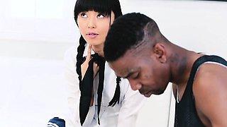 Sexy marvelous Asian schoolgirl Marica Hase gets her wet