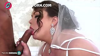 Busty brunette bride fucks