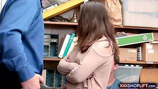 innocent looking brunette shoplifter gets fucked hard