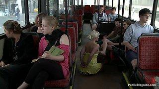 Bondage slut gets fucked on a public bus