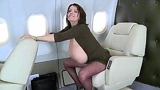 Voluptuous brunette cougar displays her huge natural boobs