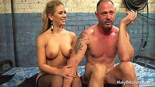 Nasty blonde mistress cherie ties her slave to a dildo machine