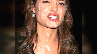 Angelina Jolie (Face) Jerk Off Challenge - With Moaning.