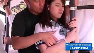 Shy japanese schoolgirl on the bus