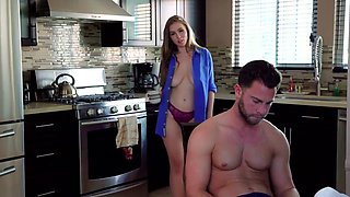 Brunette with big Tits in the kitchen jumps on the penis guy...