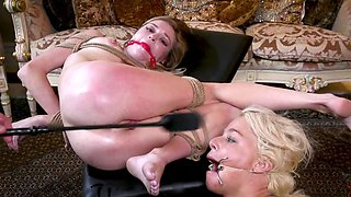 Impudent guy dominates over MILF and chick in dirty way