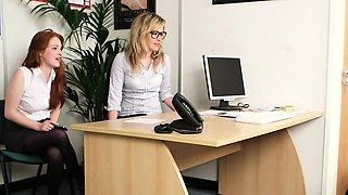 CFNM ginger femdom humiliate boss in office