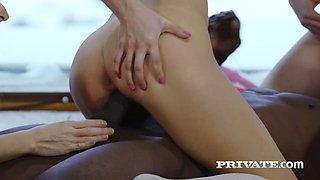 BBC fucks gorgeous ass pyramid and cums on three pretty hot babes
