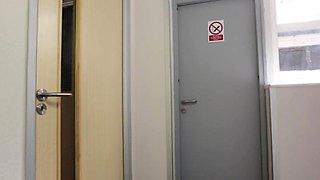 Cfnm babe Jess West jerks a peeping tom