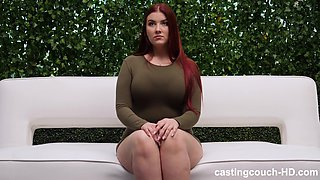 Chubby buxom redhead Anne swallows cum from a big black dick