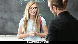 Attractive blonde schoolgirl wearing eye glasses Alexa