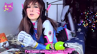 Kinky camgirl in a funny costume enjoys a mechanical toy