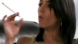 Skinny brunette slut smoking while getting interviewed