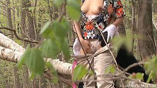 Cheating Japanese wife meets up with her lover in the local forest