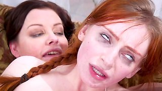 Redhead is involved in a threesome with stepmom and dominant man