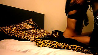 Kinky amateur brunette gets spanked and drilled on the bed