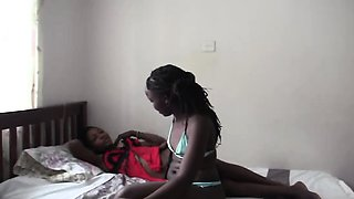 Hot African lesbians massage their sexy bodies and make
