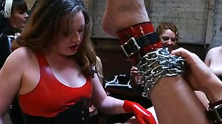 7 vicious girls gang strapon fucking the sissy.