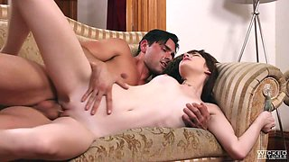 Babe with porcelain skin Lena Anderson is fucked by tanned boyfriend