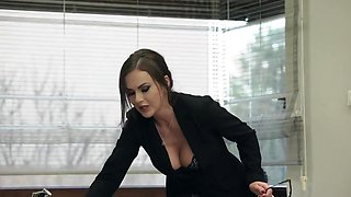 Tina Kay - In The Office Brunette In Stockings Substitutes Ass For Anal Sex