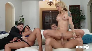 Zoey Portland and her slutty friend are having a casual foursome, in the middle of the day