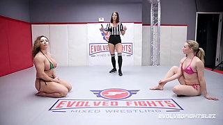 Brandi Mae vs Riley Reyes naked rough wrestling fight