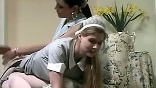 Fine hot blonde housemaid on the laps of a dominant brunette milf