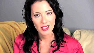 Provocative brunette milf shows off her wet black panties
