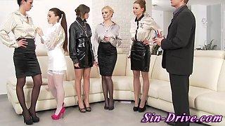 Cfnm glamour girls sucking cock