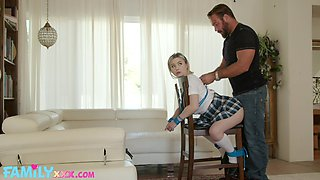 Adult stepdaughter Aria Banks is tied up and fucked by horny stepdad