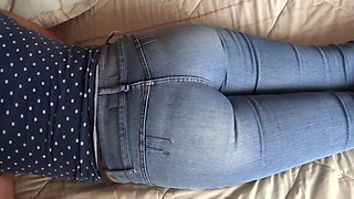 My wife shows off her big ass in jeans and without jeans