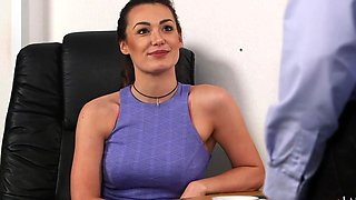 Secretary Carla James watches her kinky boss stroking his dick