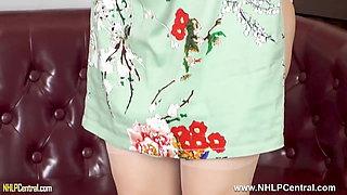 Horny brunette Milf strips lingerie wanks in stockings heels
