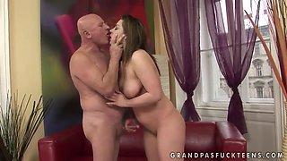 Big ass brunette Andi pleasures filthy grandpa
