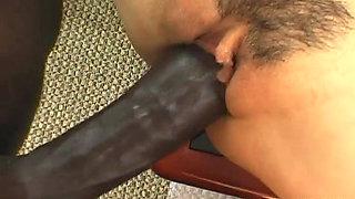 Smoking hot Asian bitch has a black cock to ride