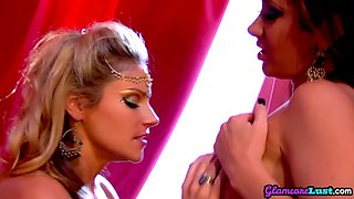 Busty glamcore lesbian licking pussy and fingering in duo